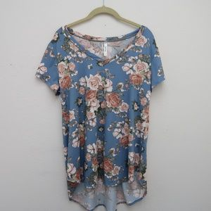 Cool Melon V-Neck Floral Top Blue Hi-Lo Blouse